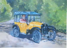 Watercolours Painting of car. Titled  Buttercup