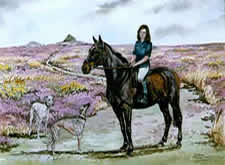 Watercolours Painting of horse and rider. Titled  Di & Friend
