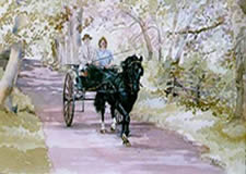 Watercolours Painting of horse and cart. Titled Driving Cob